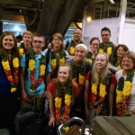 Greeted with garlands at the airport.
